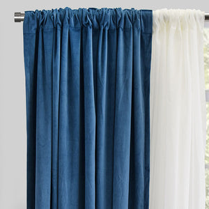 Velluto Set of 4 Velvet Curtain Panels with Sheer | Size 54X96 | Color Ocean