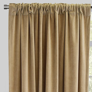 Velluto Set of 2 Velvet Curtain Panels | Size 54X96 | Color Sand