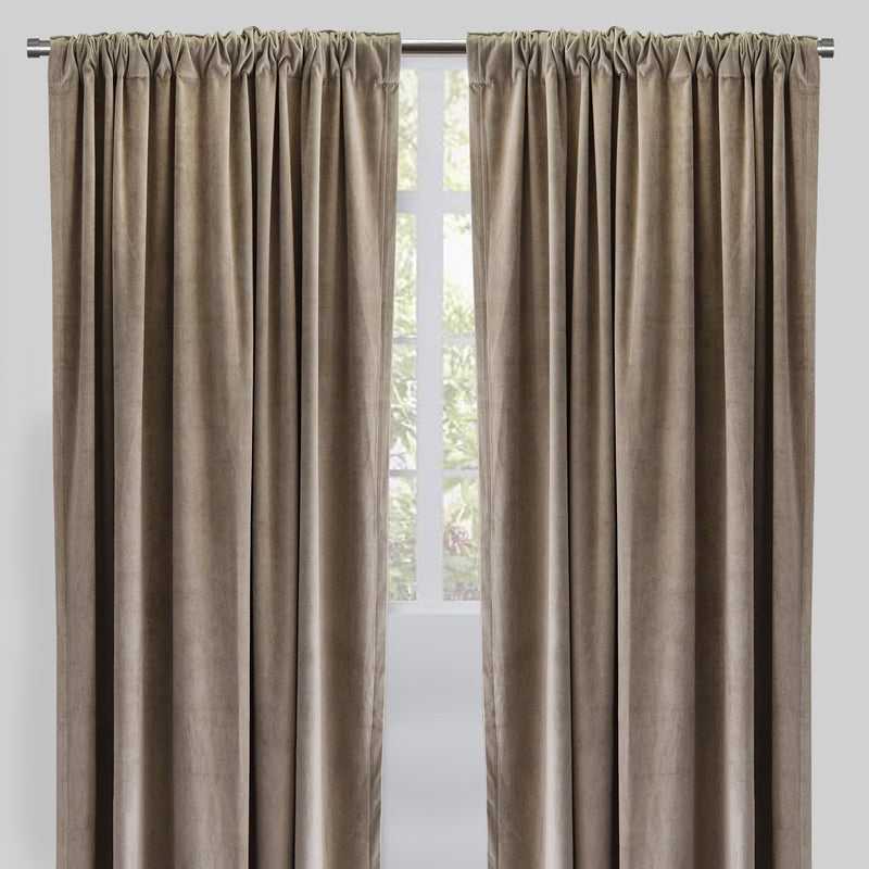 Velluto Set of 2 Velvet Curtain Panels | Size 54X96 | Color Flax