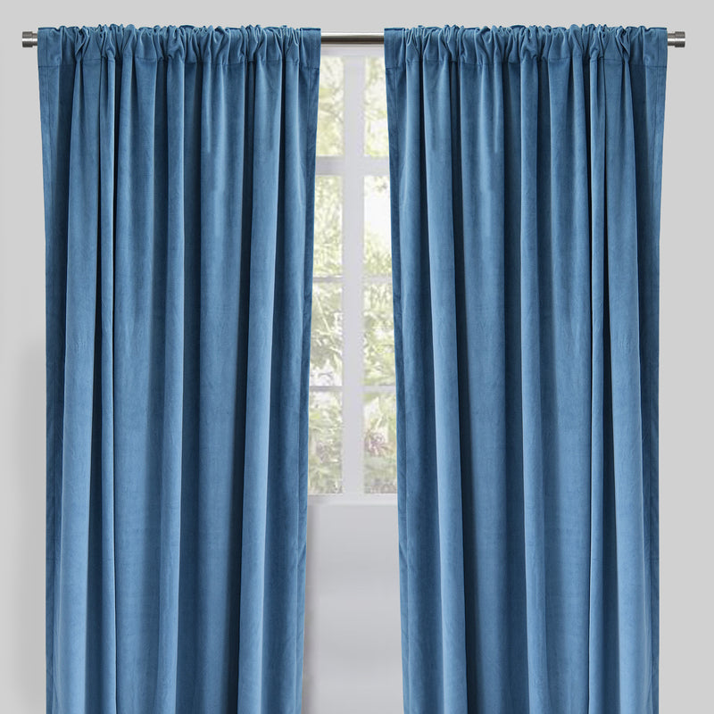 Velluto Set of 2 Velvet Curtain Panels | Size 54X96 | Color Ocean