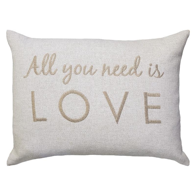 All You Need Is Love Embroidery Pillows | Size 16X22 | Color Taupe