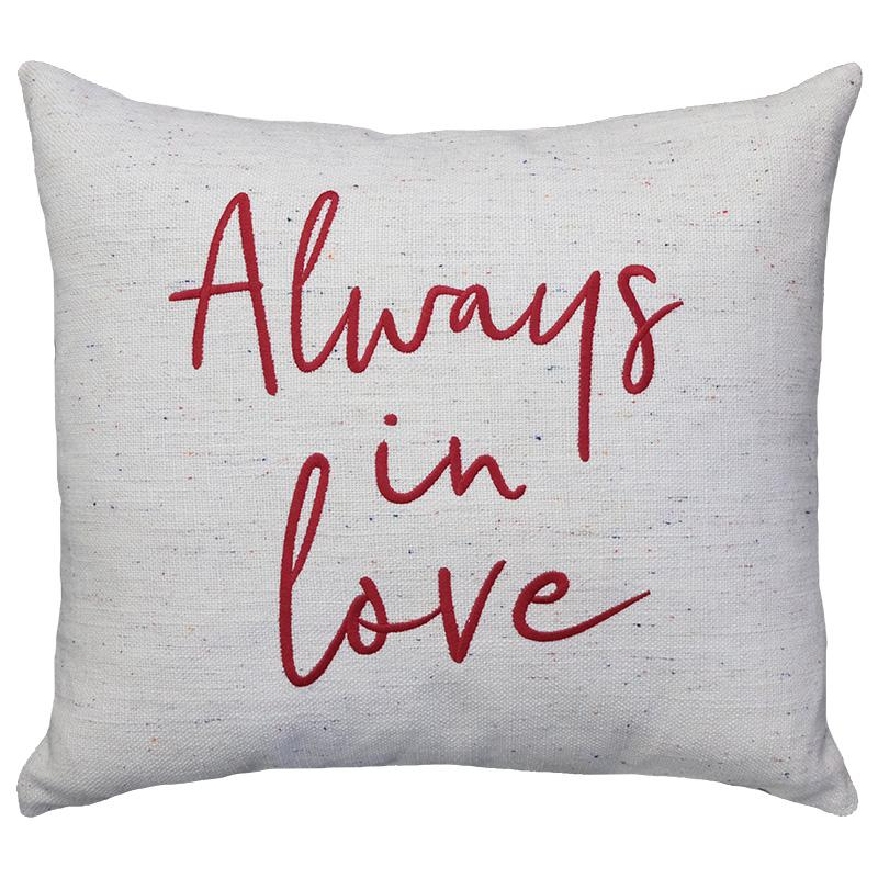 Always In Love Embroidery Pillows | Size 18X20 | Color Red - Rodeo Home