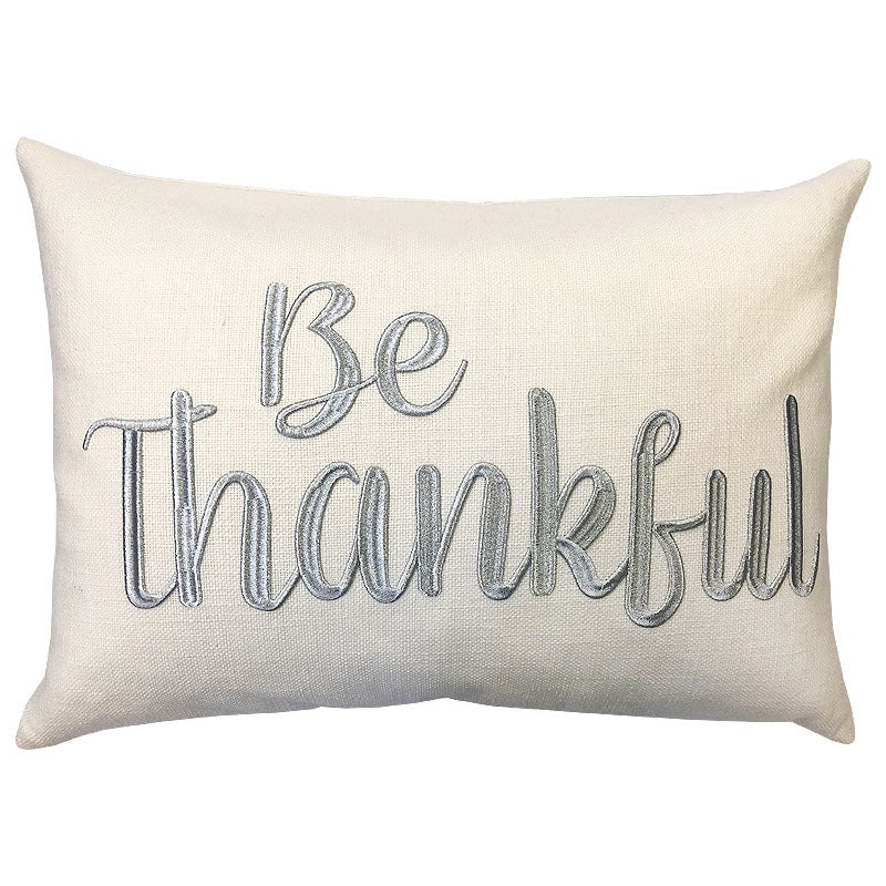 Be Thankful Pillow | Size 14X20 | Color Silver