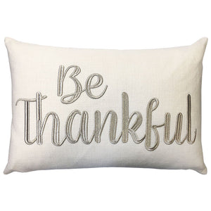 Be Thankful Pillow | Size 14X20 | Color Champagne