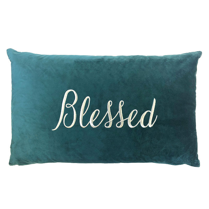 Blessed Pillow | Size 16X26 | Color Peacock