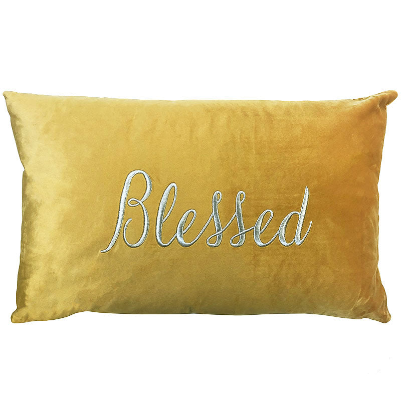 Blessed Pillow | Size 16X26 | Color Mustard