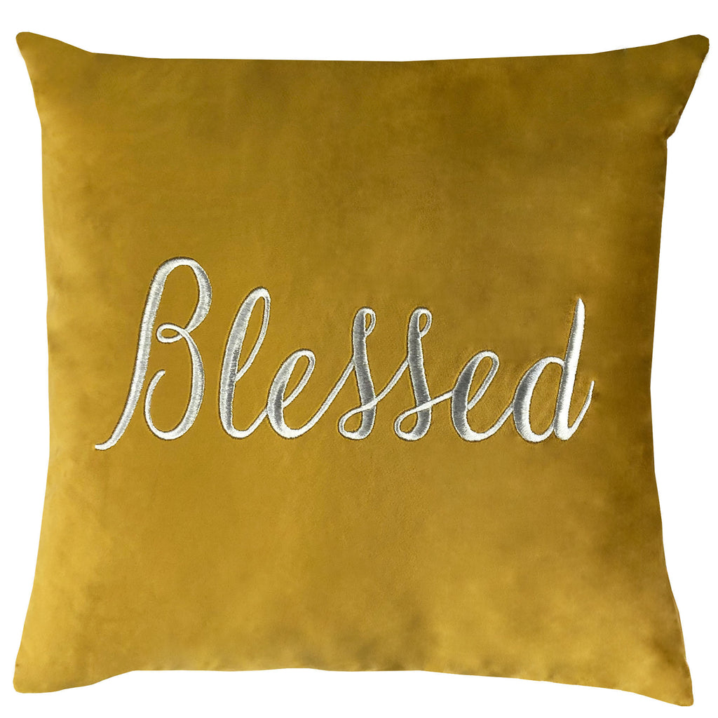 Blessed Pillow | Size 20X20 | Color Mustard
