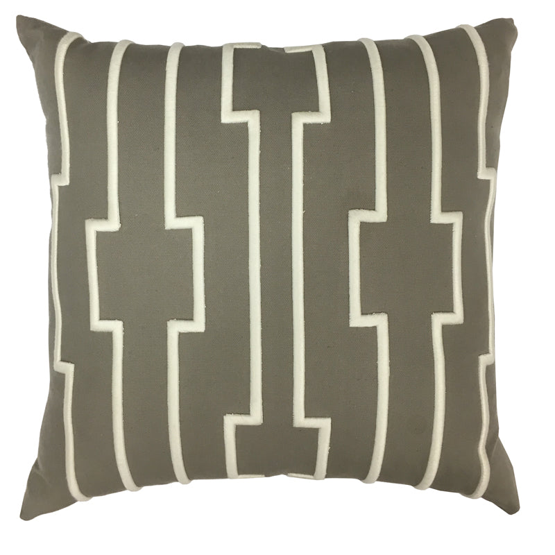 Darya Pillow | Size 20X20 | Color Pewter/Ivory