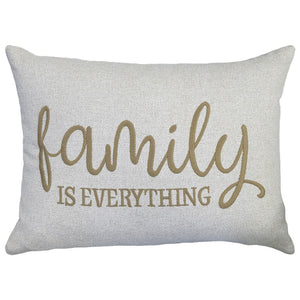 Family Is Everything Embroidery Pillow | Size 16X22 | Color Taupe