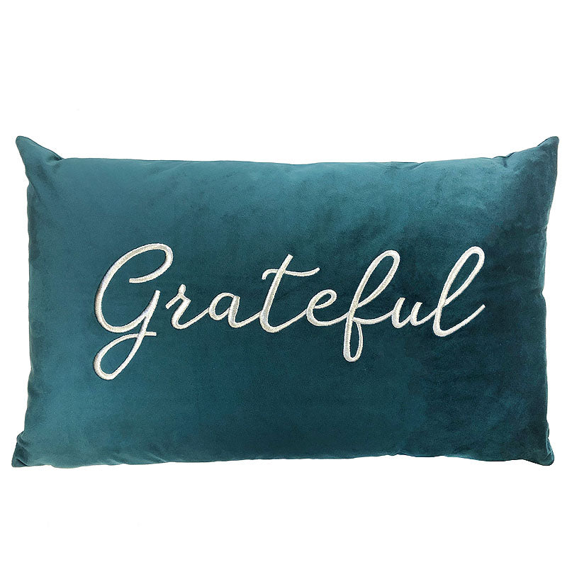 Grateful Pillow | Size 16X26 | Color Peacock