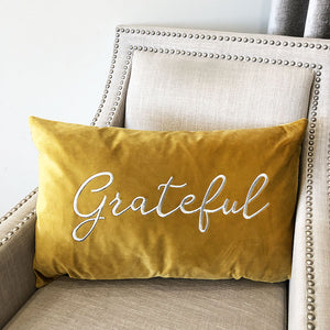 Grateful Pillow | Size 16X26 | Color Mustard