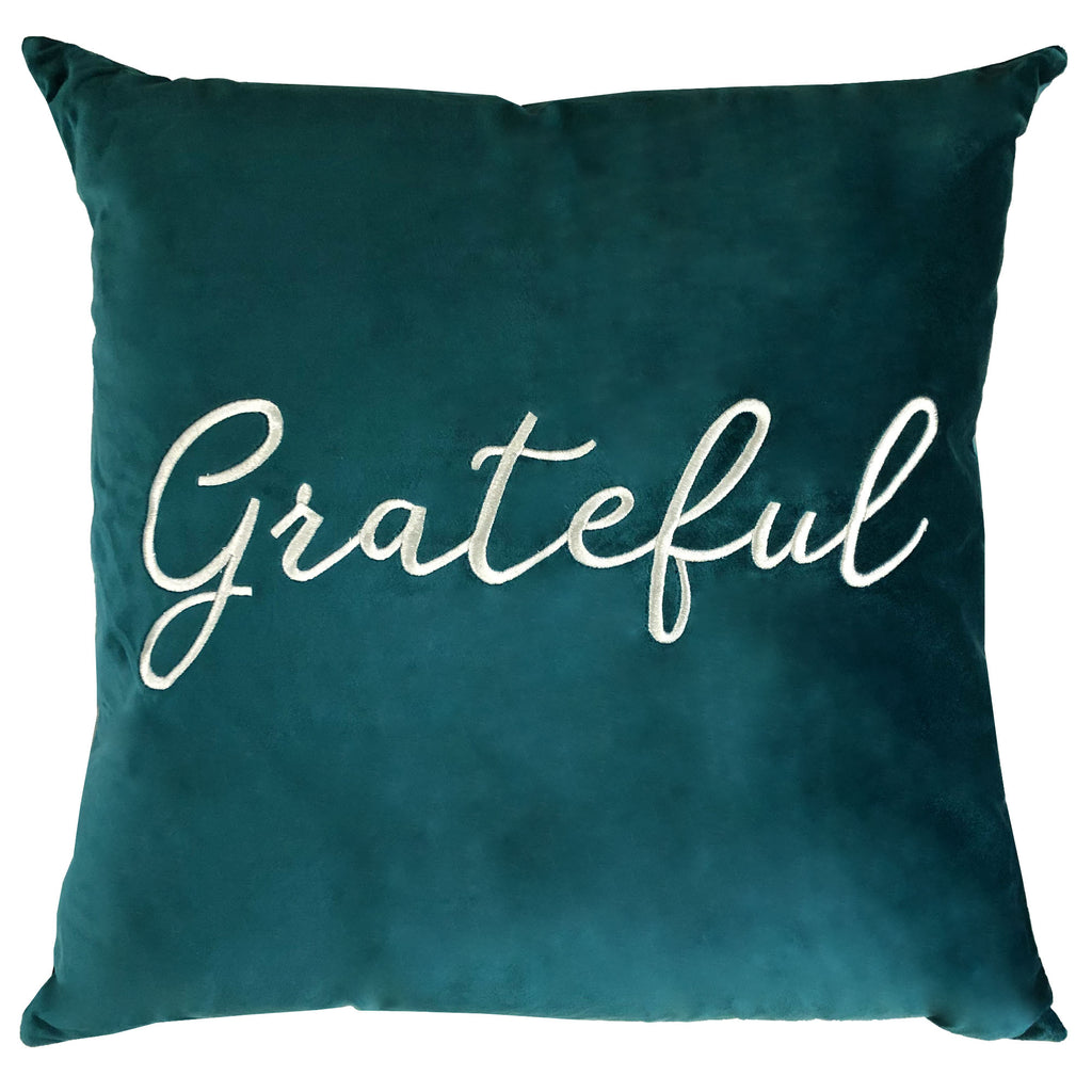 Grateful Pillow | Size 20X20 | Color Peacock
