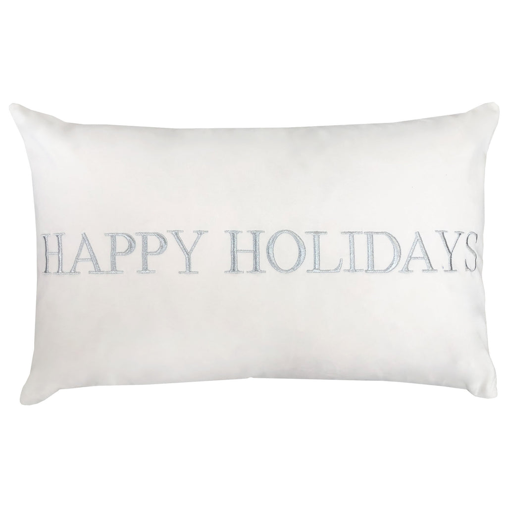 Happy Holidays Christmas Pillow | Size 16x26 | Color White/Silver
