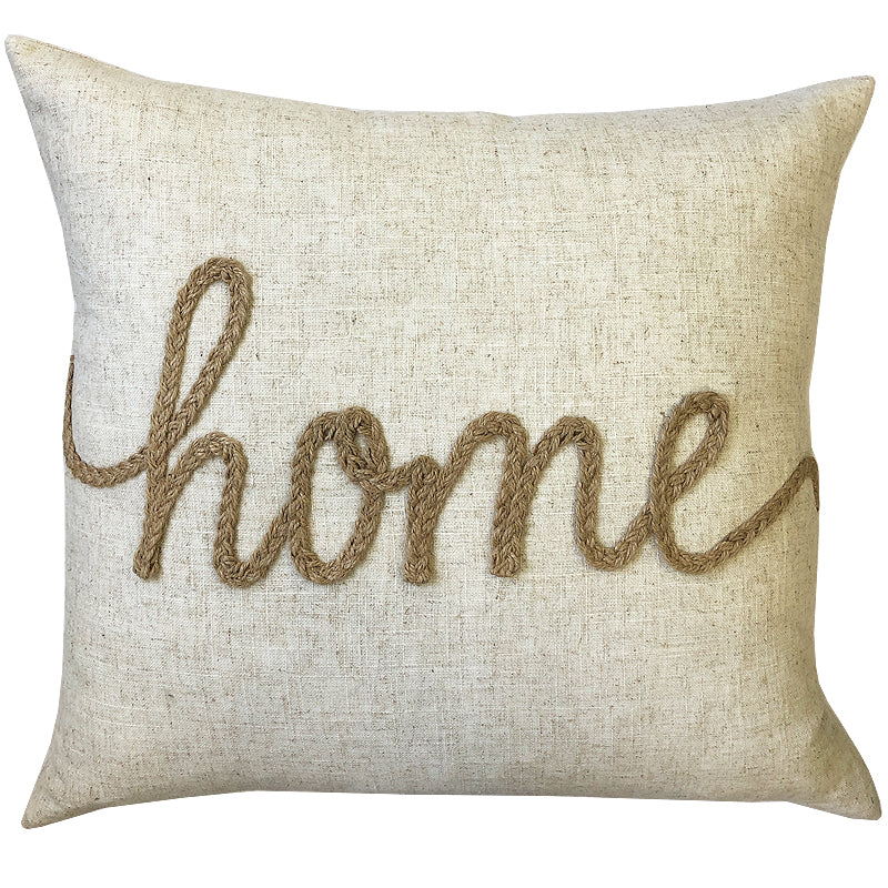 Home Linen Word Embroidery Pillow | Size 18X20 | Color Natural