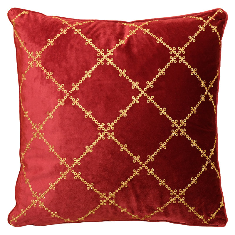 Lia Pillows | Size 20X20 | Color Scarlet/Gold