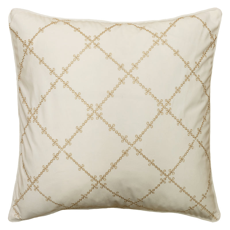 Lia Pillows | Size 20X20 | Color White/Gold
