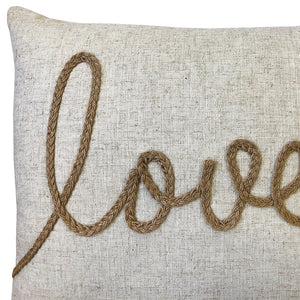 Love Linen Word Embroidery Pillow | Size 18X20 | Color Natural