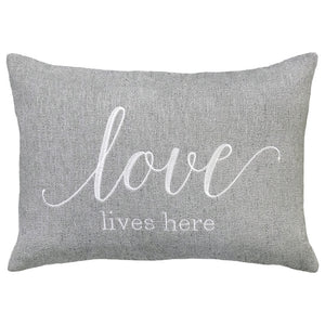 Love Lives Here Embroidery on Cashio Pillow | Size 14X20 | Color Silver