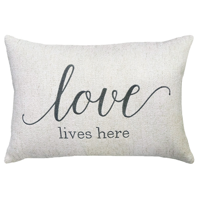 Love Lives Here Embroidery on Cashio Pillow | Size 14X20 | Color Pearl