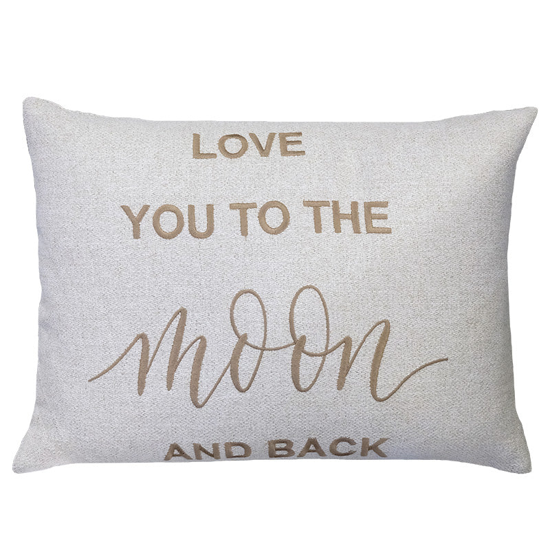 Love You To The Moon and Back Embroidery Pillow | Size 16X22 | Color Taupe
