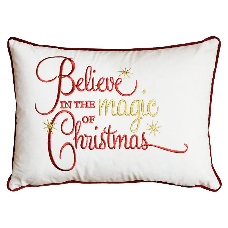 """Believe In The Magic Of Christmas"" Embroidery Pillows 