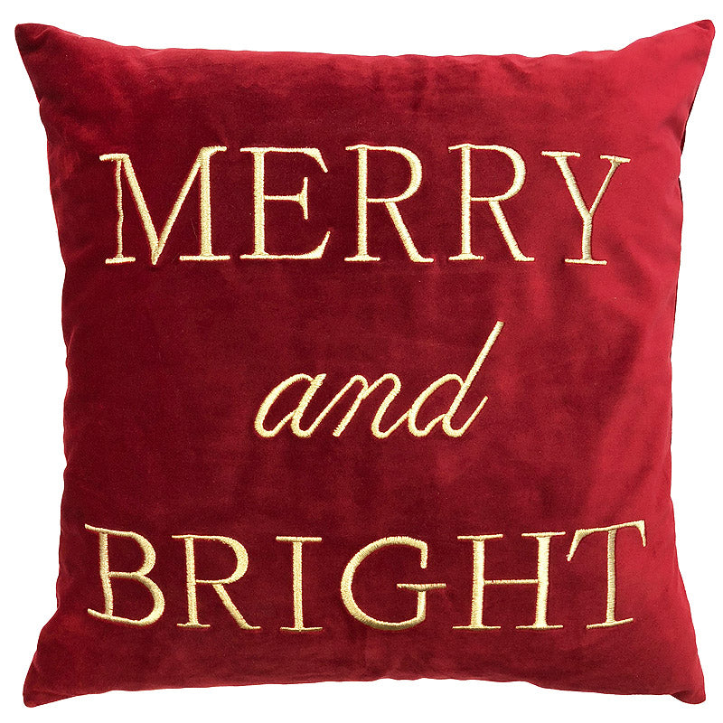 Merry Bright Pillow | Size 20x20 | Color Scarlet/Gold