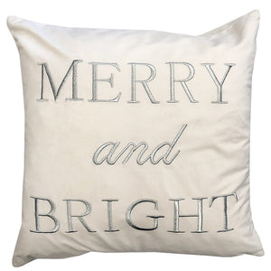 Merry Bright Pillow | Size 20x20 | Color White/Silver