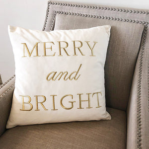 Merry Bright Pillow | Size 20x20 | Color White/Gold