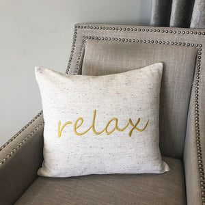 Relax Linen Word Embroidery Pillow | Size 18X20 | Color Mustard