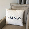 Relax Linen Word Embroidery Pillow | Size 18X20 | Color Navy