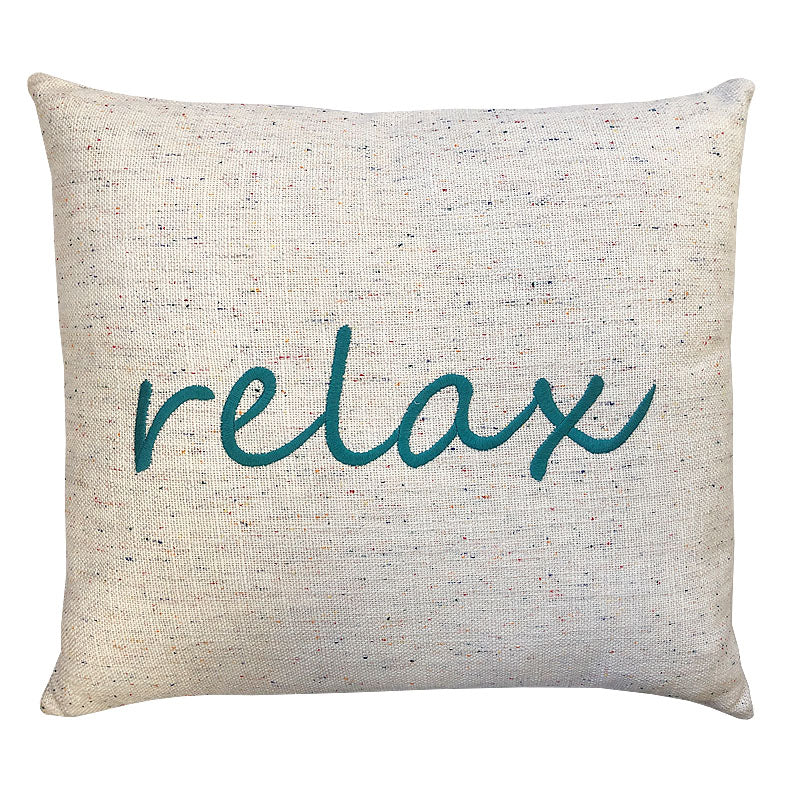 Relax Linen Word Embroidery Pillow | Size 18X20 | Color Teal