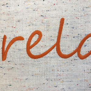 Relax Linen Word Embroidery Pillow | Size 18X20 | Color Orange
