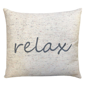 Relax Linen Word Embroidery Pillow | Size 18X20 | Color Gray