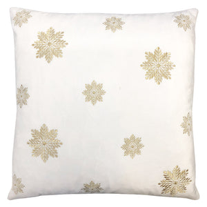 Snowflake Pillow | Size 20x20 | Color White/Gold