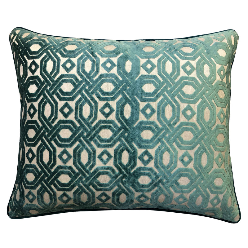 Zachary Pillow | Size 18X22 | Color Turquoise