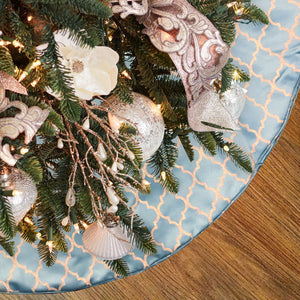 Orin Christmas Tree Skirt | Color Blue & Gold