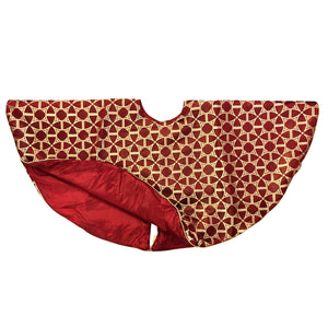 Kristy Christmas Tree Skirt | Color Red & Gold