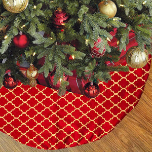 Orin Christmas Tree Skirt | Color Cranberry & Gold