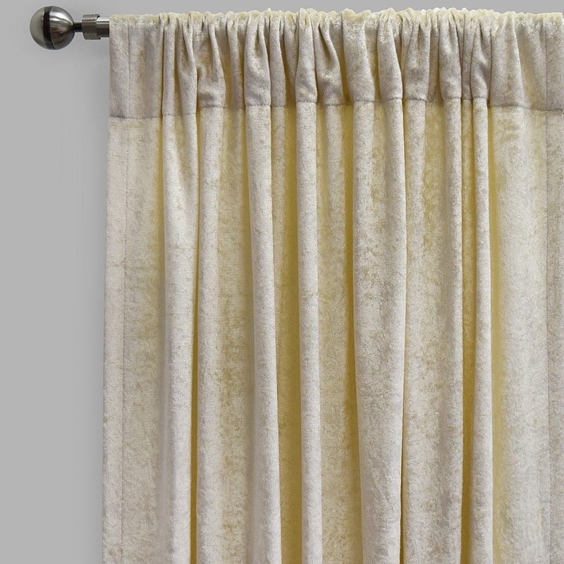 Calisi Set of 2 Crushed Velvet Curtain Panels | Available Sizes 54X84 & 54X96 | Color Ivory