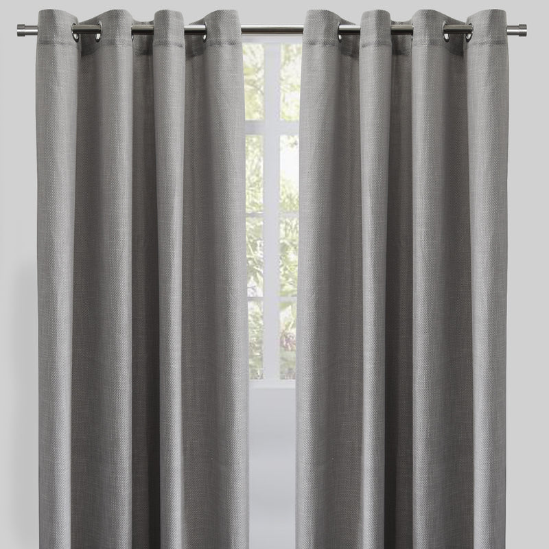 Raider Set of 2 Linen Look Curtain Panels | Size 54X96 | Color Gray