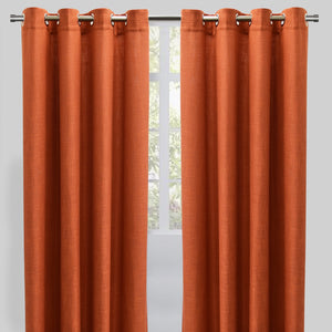 Raider Set of 2 Linen Look Curtain Panels | Size 54X96 | Color Orange
