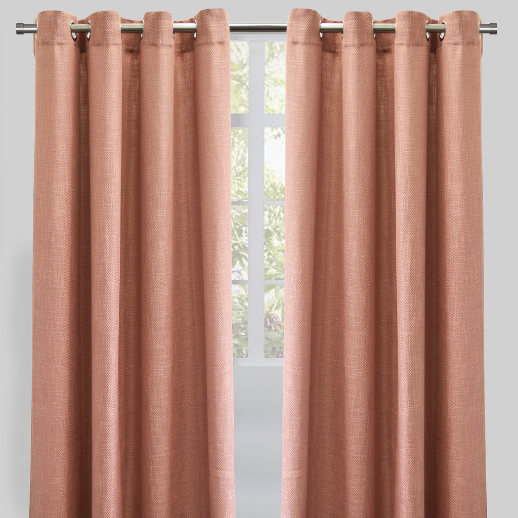 Raider Set of 2 Linen Look Curtain Panels | Size 54X96 | Color Blush
