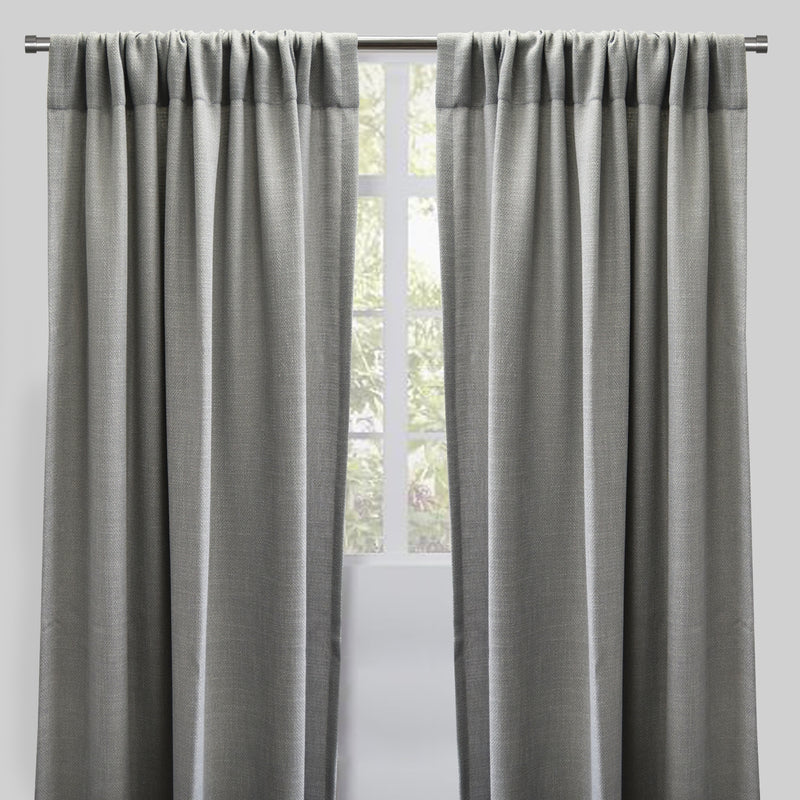 Reno Set of 2 Linen Look Curtain Panels | Size 54X96 | Color Platinum