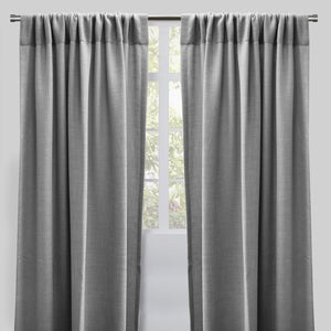 Reno Set of 2 Linen Look Curtain Panels | Size 54X96 | Color Silver