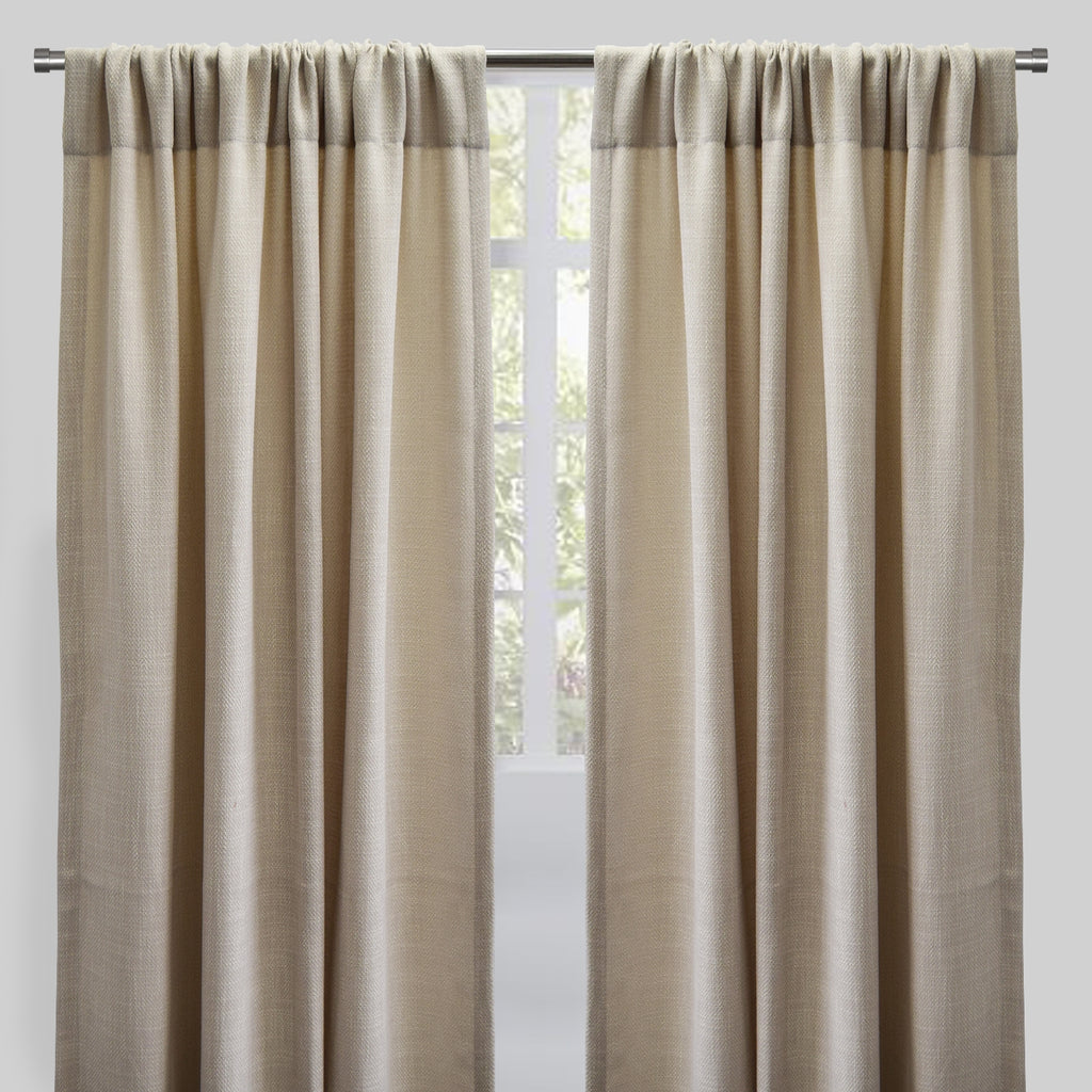 Reno Set of 2 Linen Look Curtain Panels | Size 54X96 | Color Cream