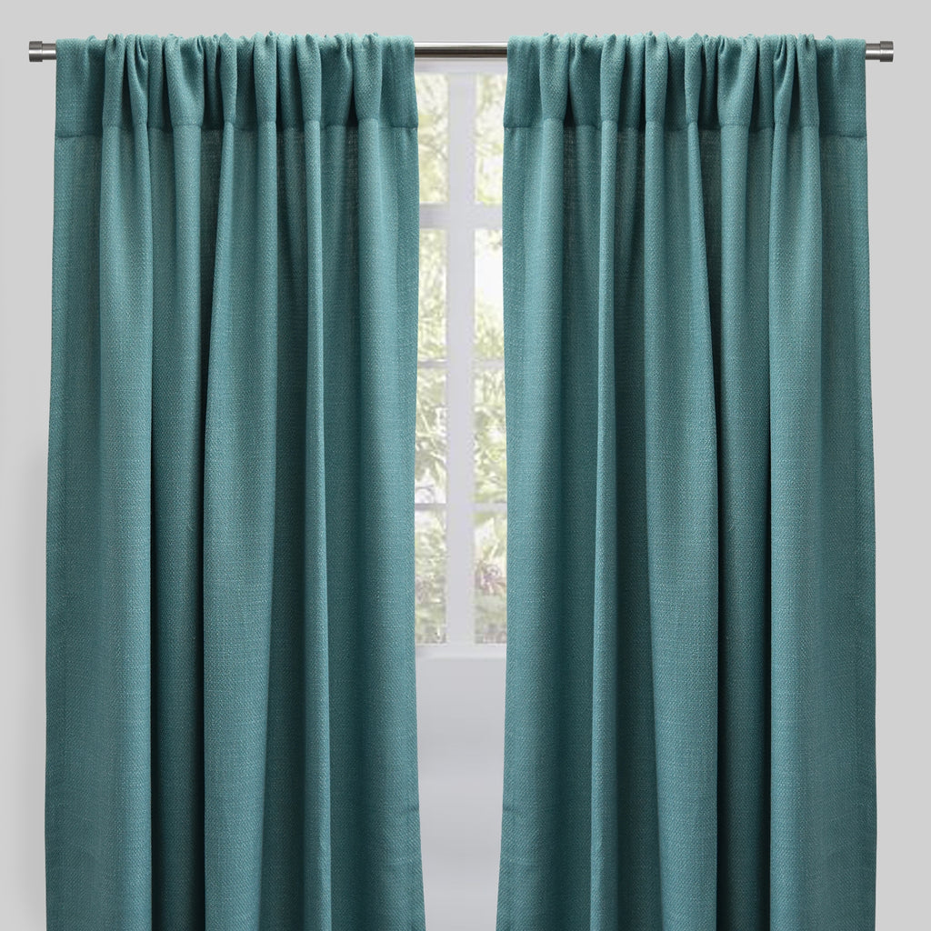 Reno Set of 2 Linen Look Curtain Panels | Size 54X96 | Color Spa