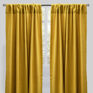 Reno Set of 2 Linen Look Curtain Panels | Size 54X96 | Color Canary