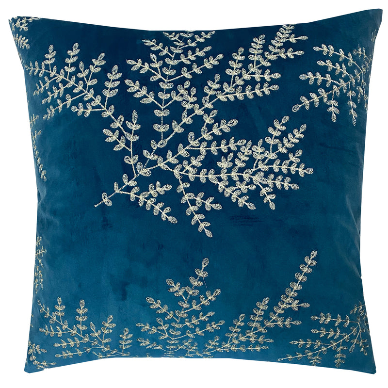 Jaz Pillow | Size 20X20 | Color Cerulean/Gold