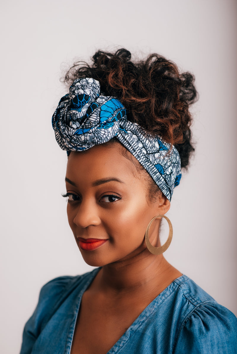 Head Wrap - Blue Rain