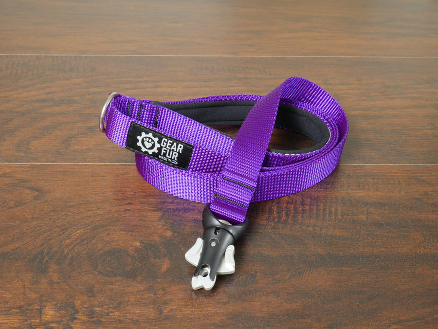 Purple Flat Double Leash